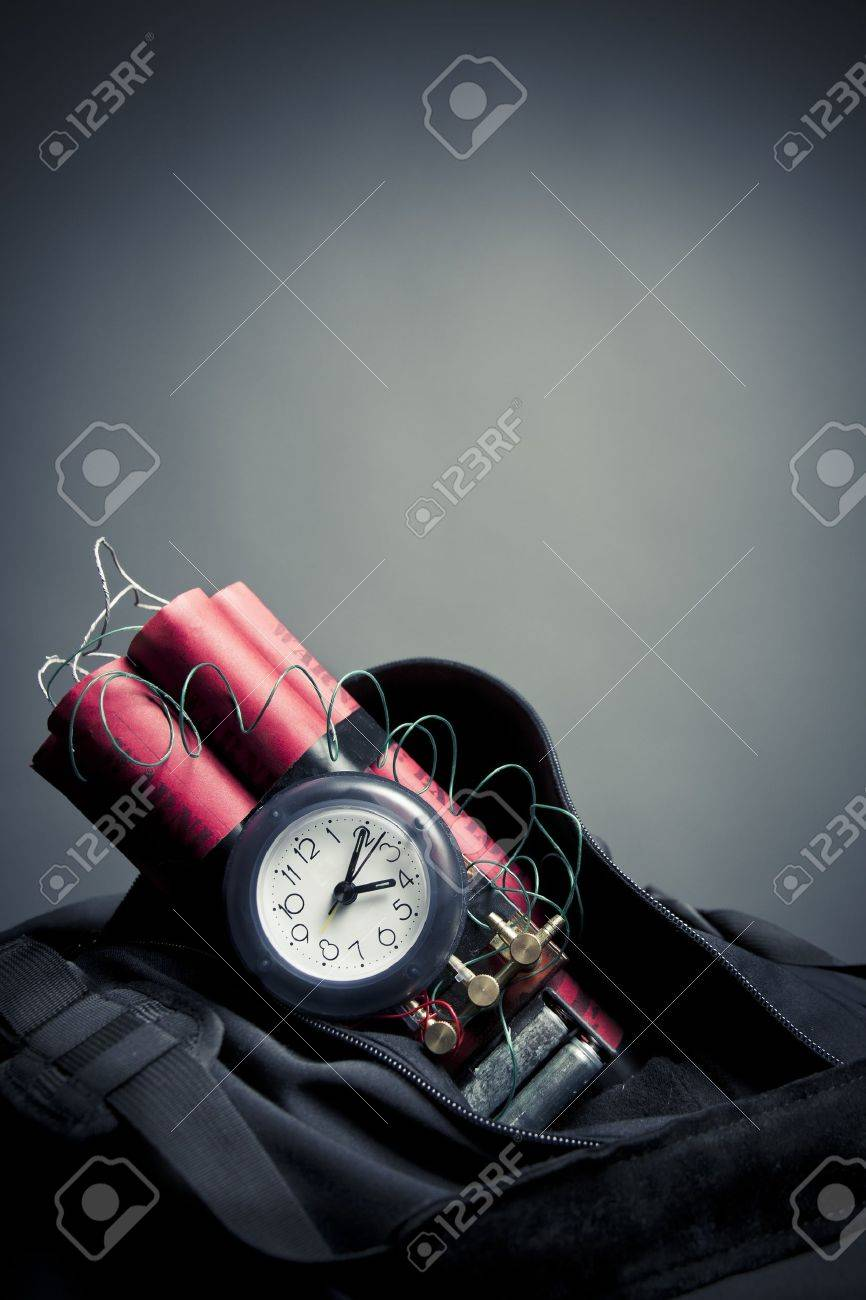 timebomb in a backpack representing terrorist attack Stock Photo - 15385100