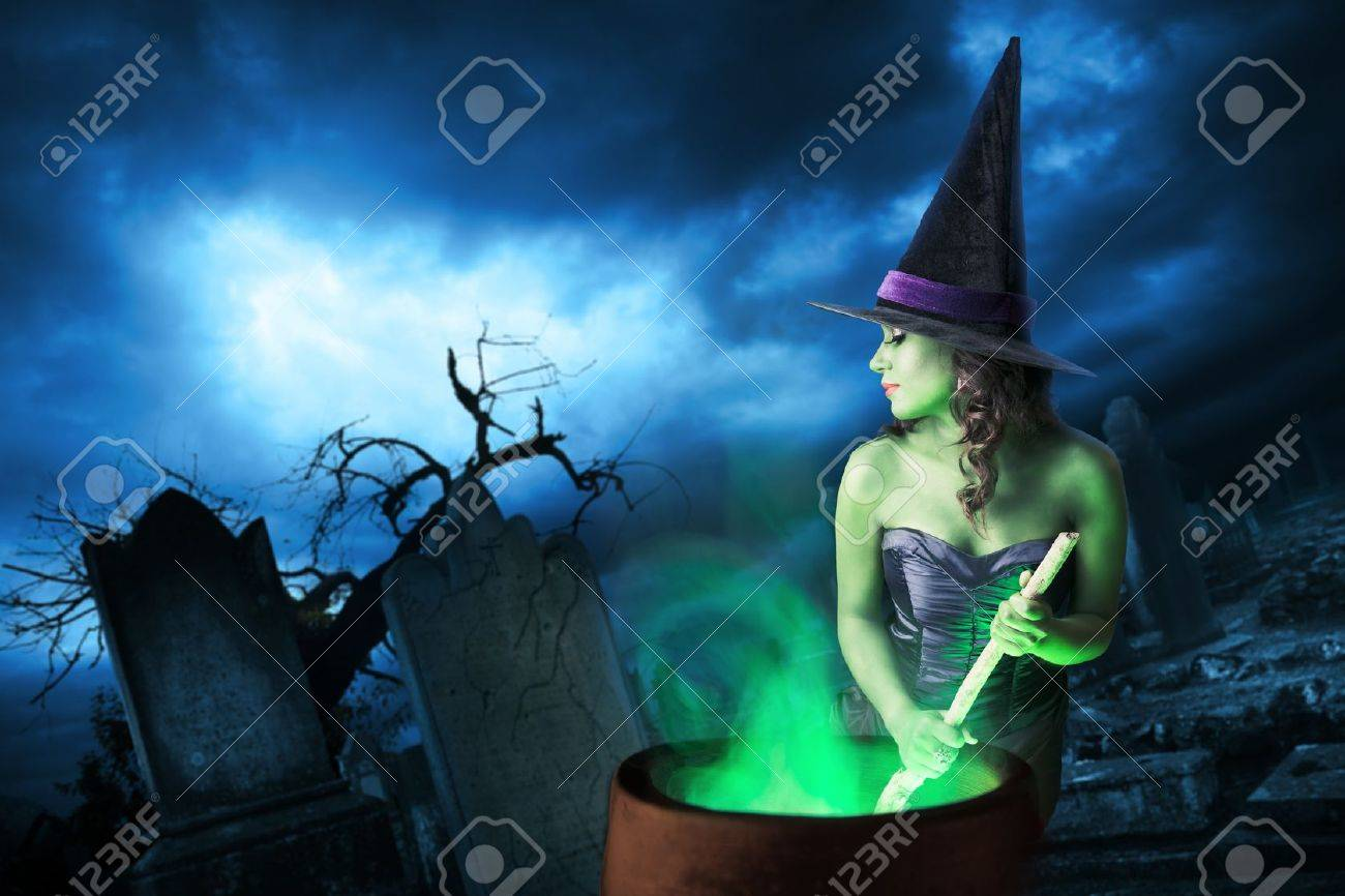 Sexy witch on a dark background - 15561957