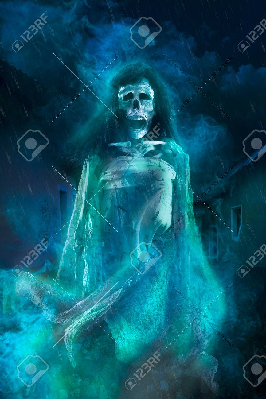 Creepy Halloween Background Of Ghost At Night Stock Photo Picture And Royalty Free Image Image 28047016