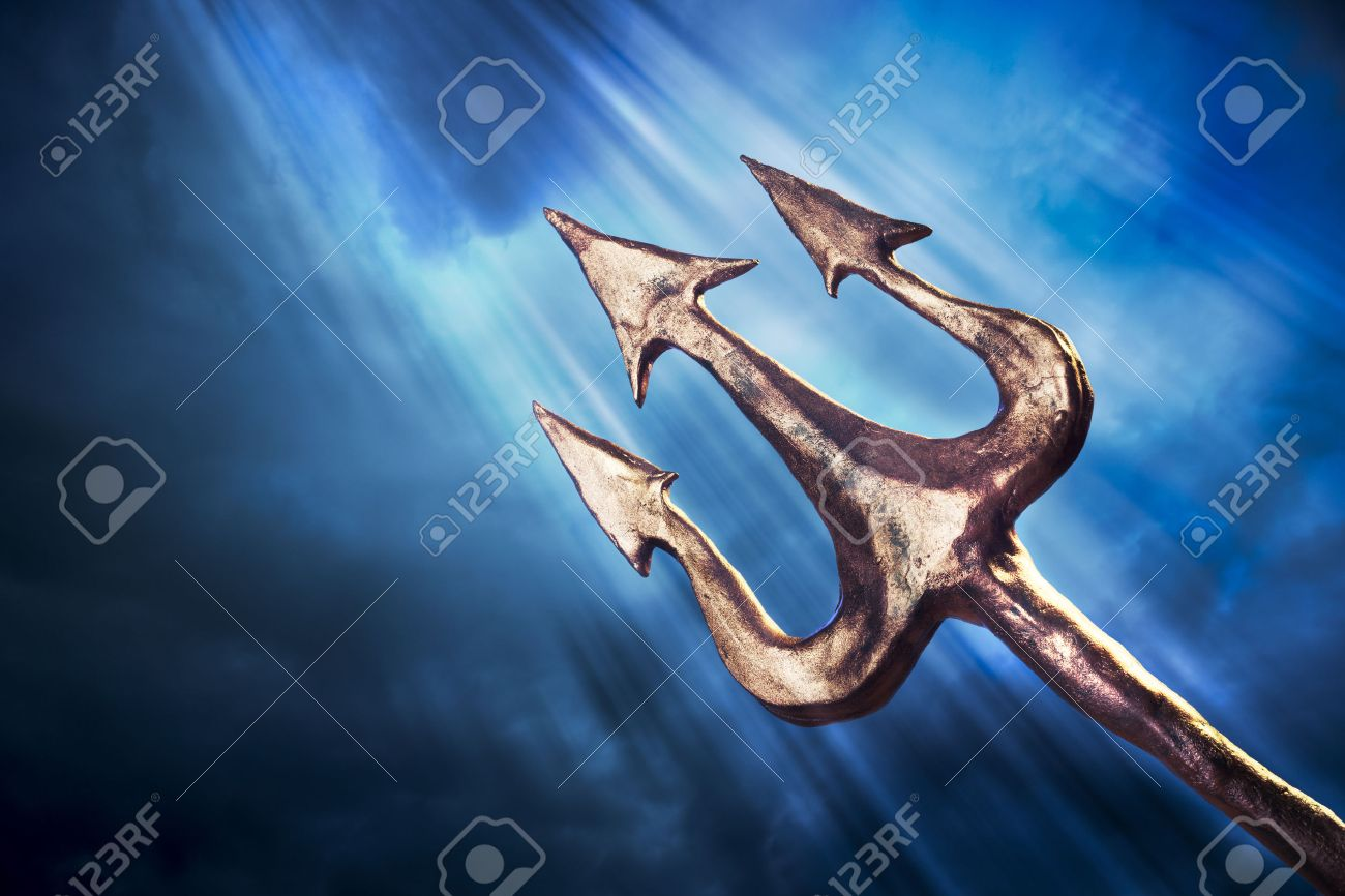 Poseidons trident on a dark sky background stock photo picture and poseidons trident on a dark sky background stock photo 28047426 biocorpaavc Choice Image