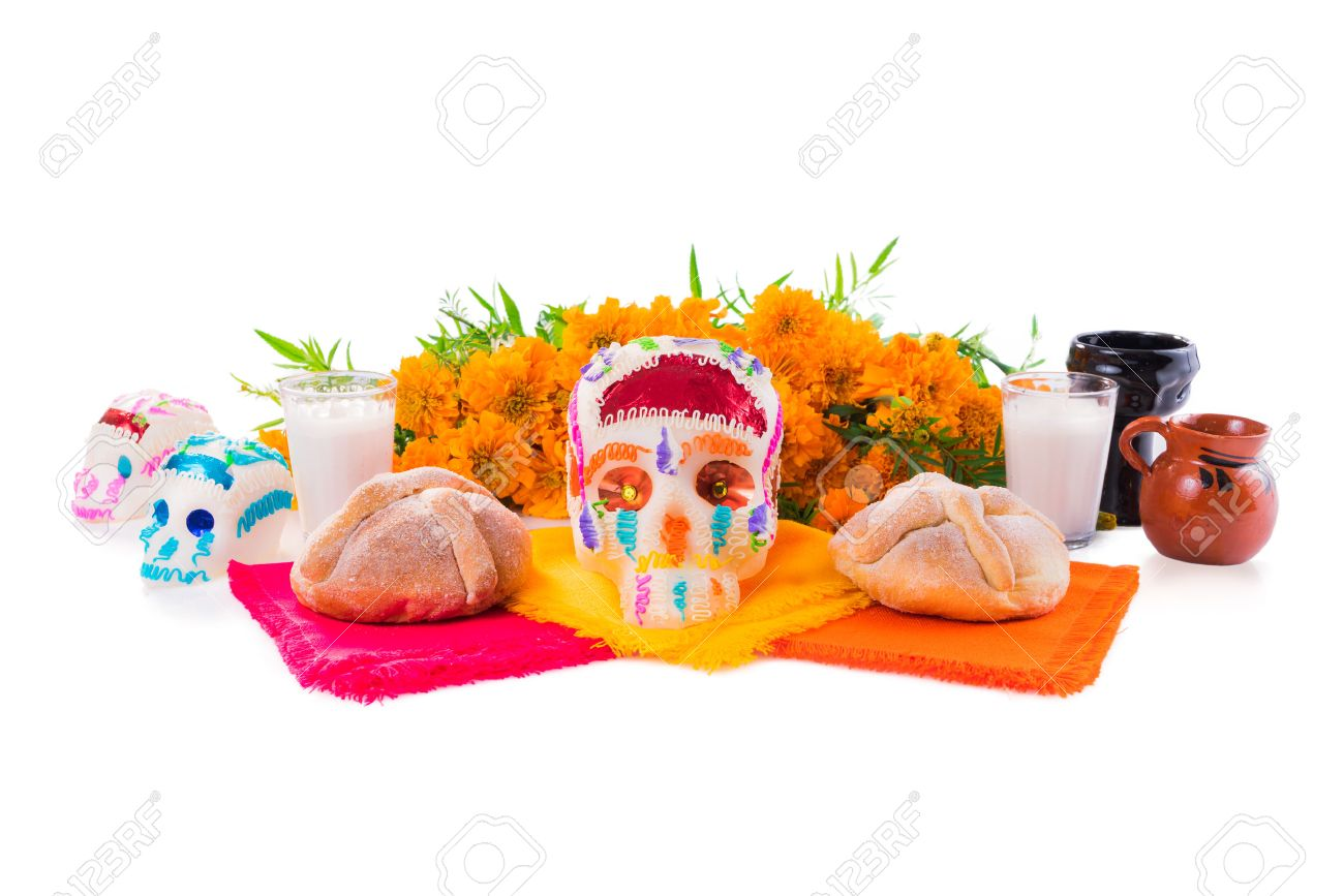 """sugar skull used for """"dia de los muertos"""" celebration isolated on white with cempasuchil flowers - 64138631"""