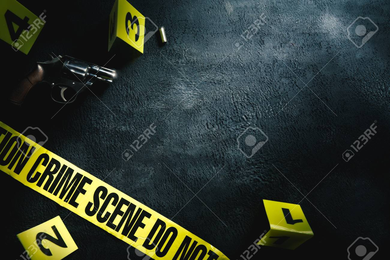 Crime scene concept with a gun and evidence markers , high contrast image - 93708398
