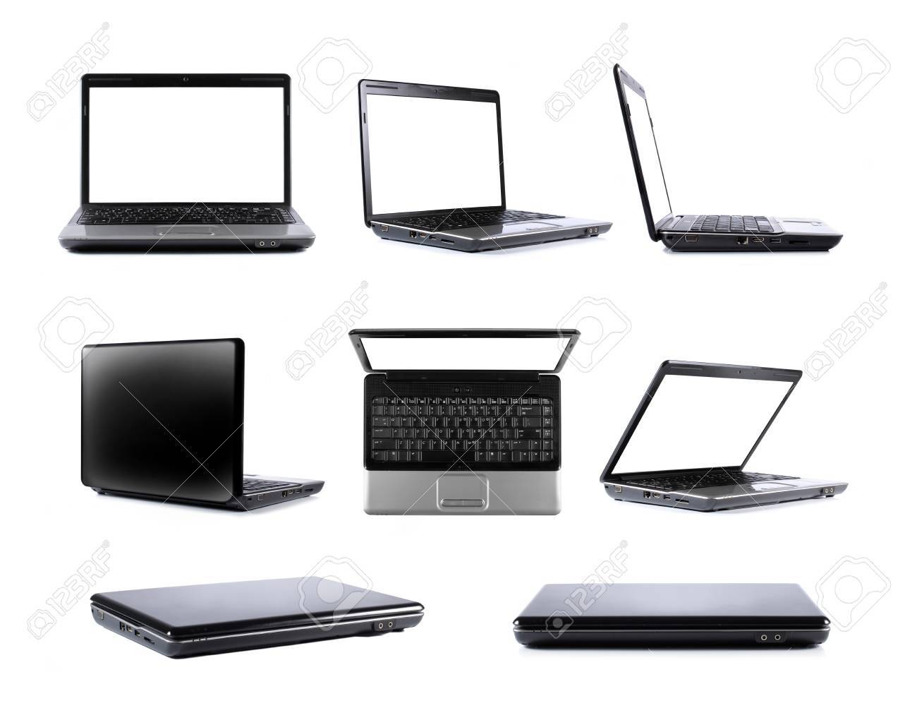 collection of black laptop in eight different point of view and position Stock Photo - 9093517