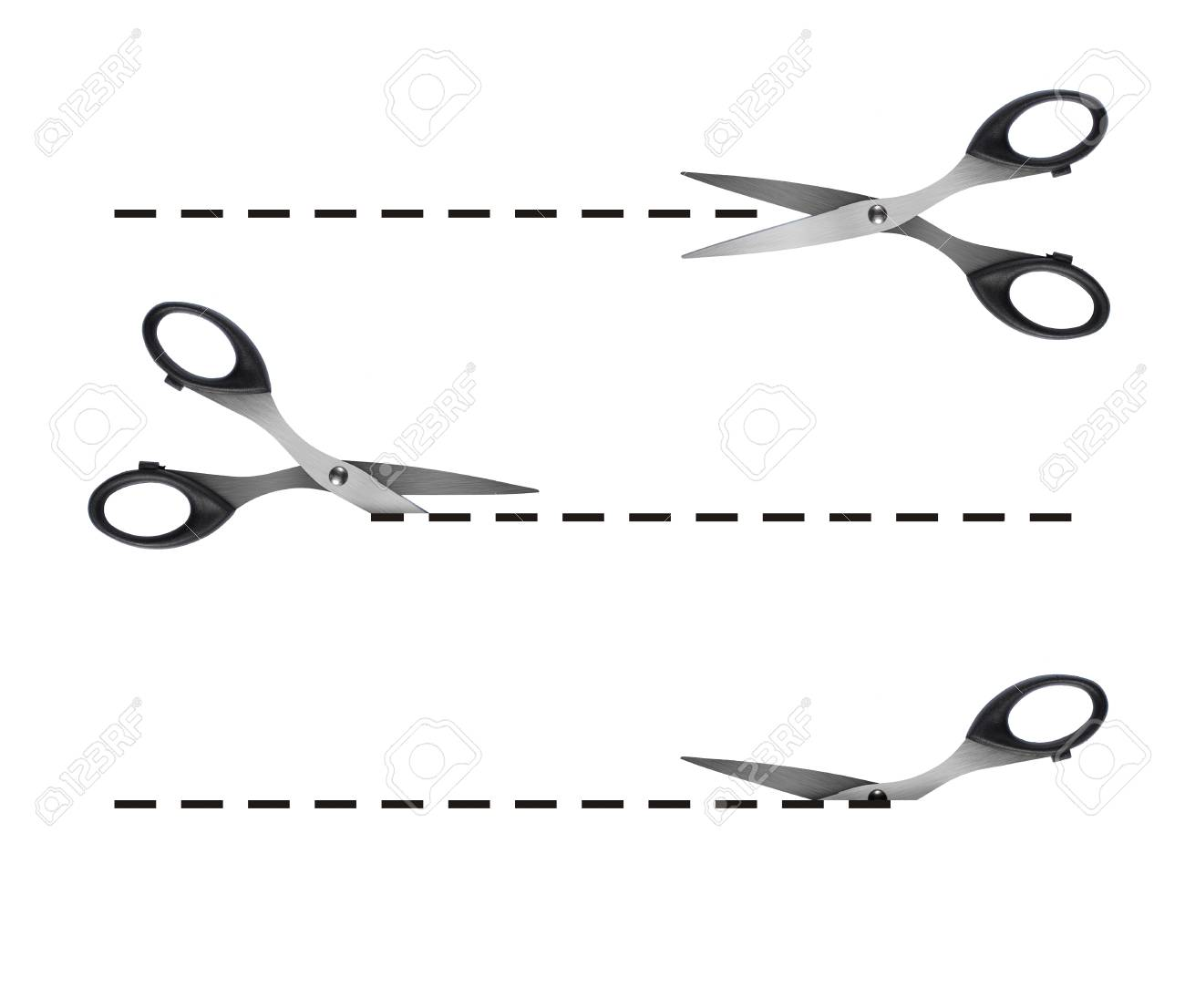 scissors cutting black dashed lines Stock Photo - 9093478