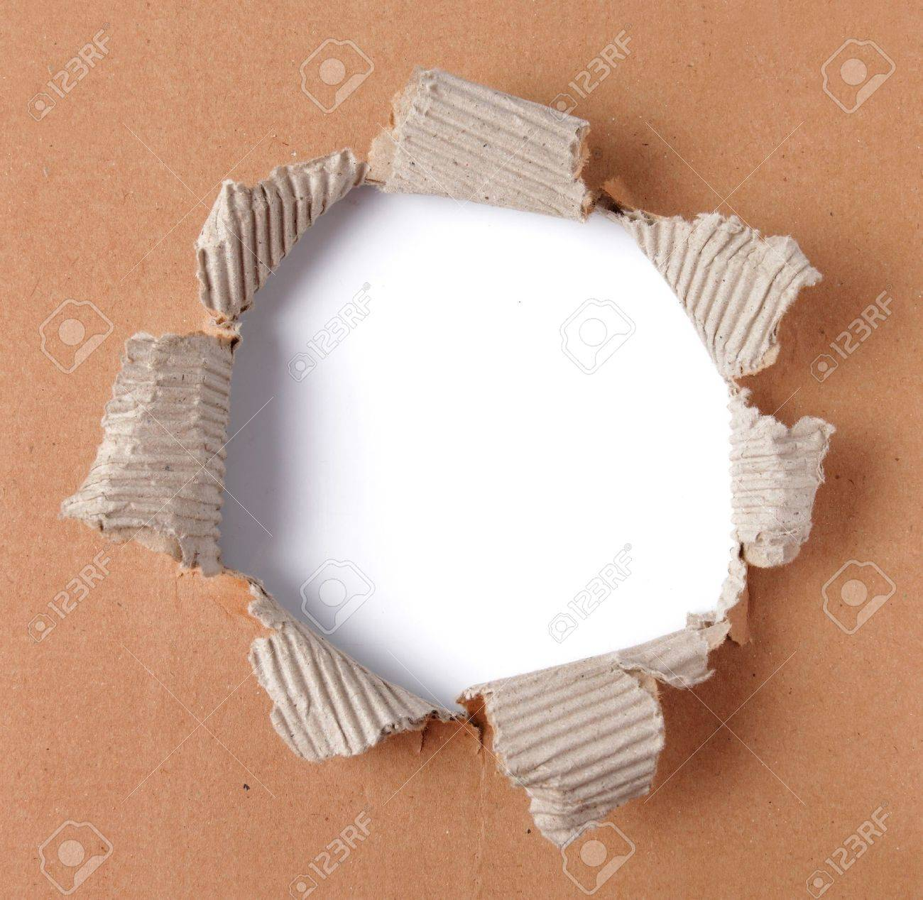 brown corrugated paper torn in the center Stock Photo - 9603670