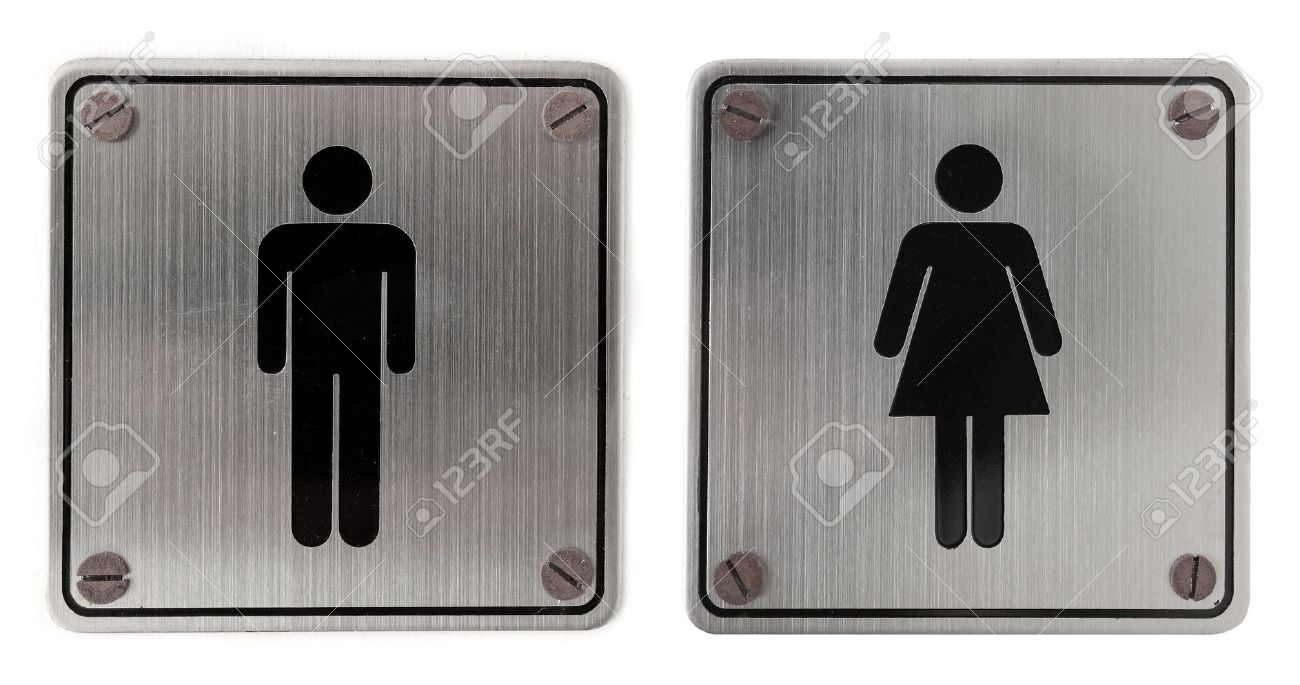 male female symbol metal restroom Signs isolated over white background  Male  Female Symbol Images Stock. Male Female Bathroom Signs   education photography com