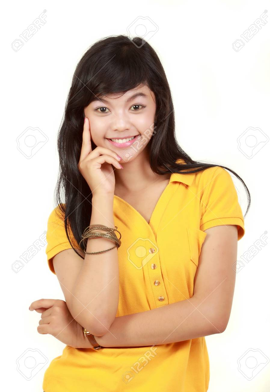 portrait of happy young girl smiling Stock Photo - 10338627