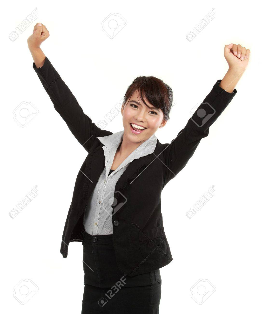 Portrait of happy young business woman celebrating success Stock Photo - 10529211