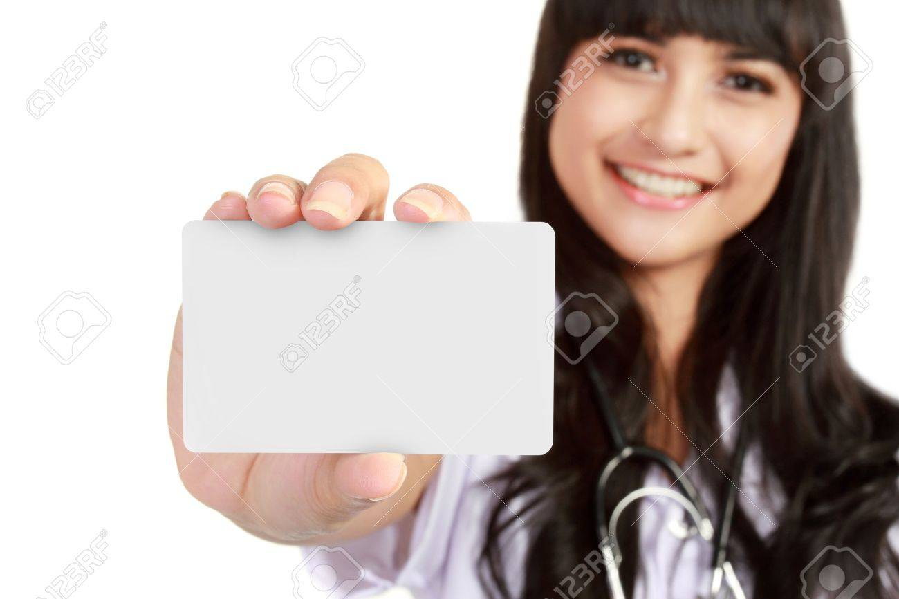 Nurse or young medical doctor woman showing business card isolated on white background. Closeup with copy space on blank empty sign. Stock Photo - 11318457