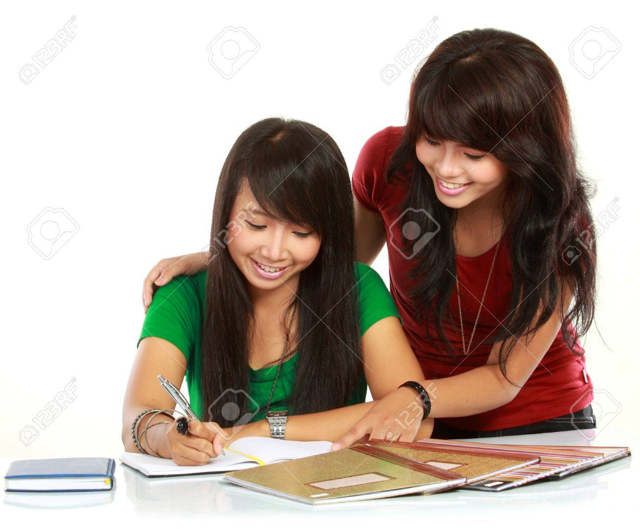 portrait of two young asian student studying Stock Photo - 11844772