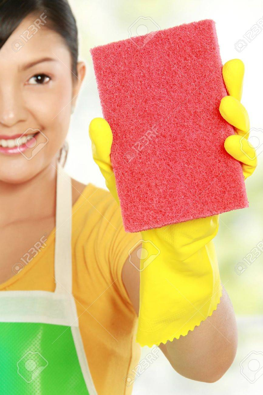White rubber apron - Rubber Apron Portrait Of Attractive Young Woman Cleaning Windows Isolated Over White Background