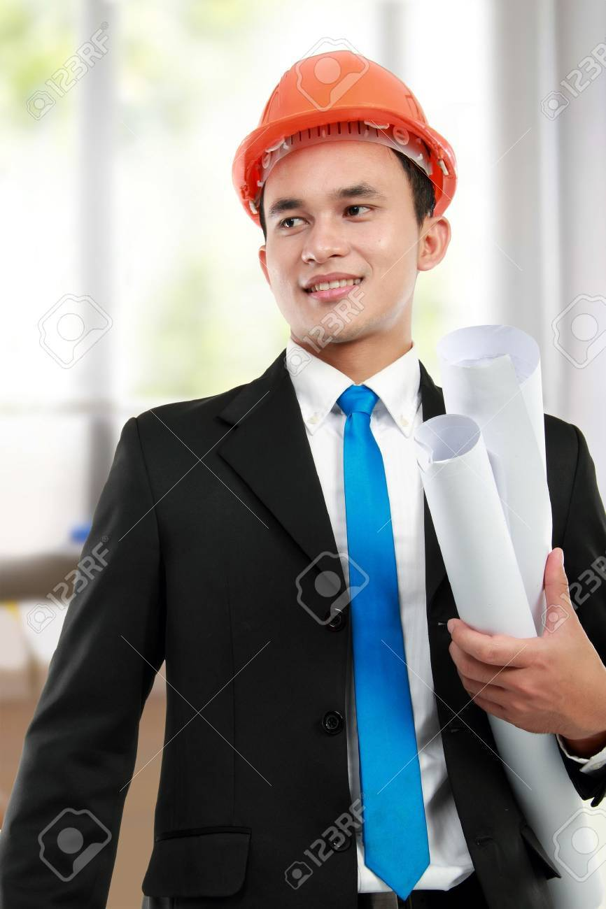 Handsome young asian man architect in a building Stock Photo - 12798913