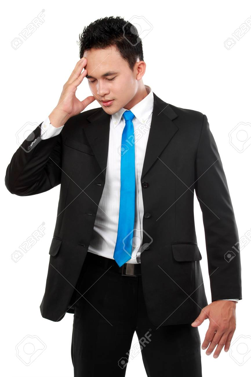 Business man having stress. Isolated over white background Stock Photo - 12799657