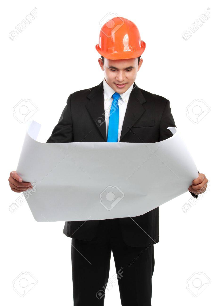 confident Handsome young asian man architect looking at paper work isolated over white background Stock Photo - 12799462