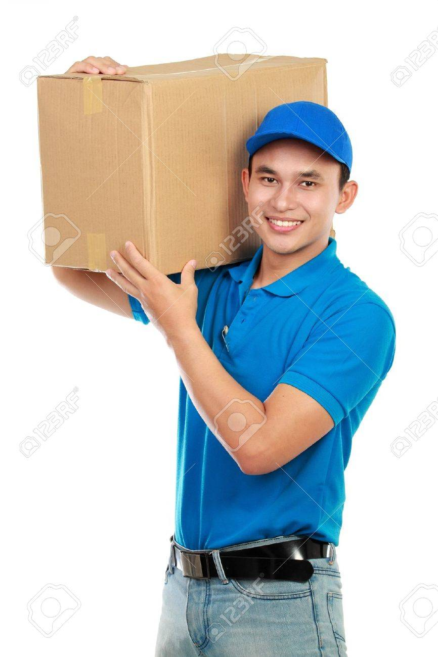 Young man delivery in blue uniform with packages isolated on white Stock Photo - 12809698