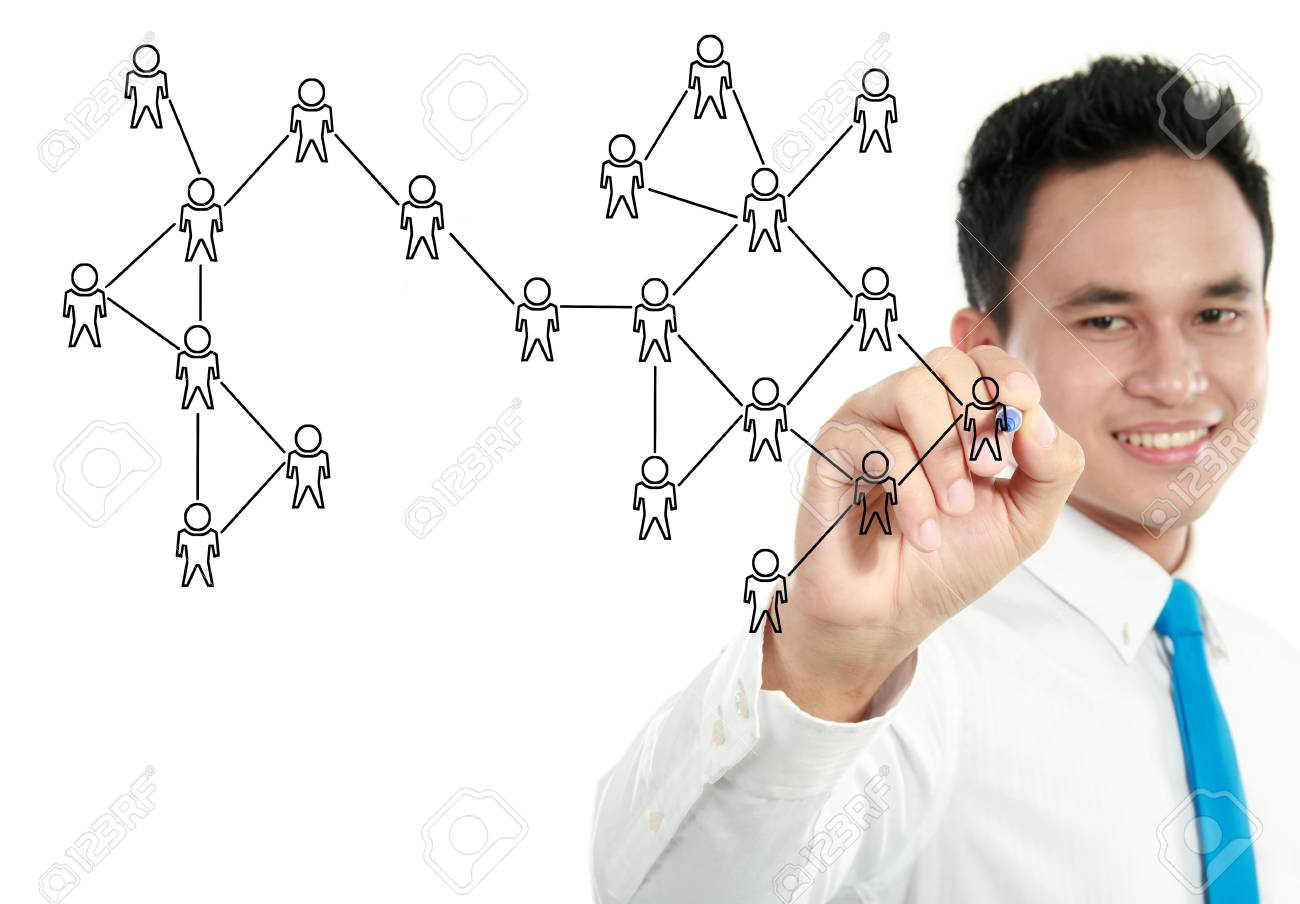 happy businessman hand writing social network on whiteboard Stock Photo - 13157443