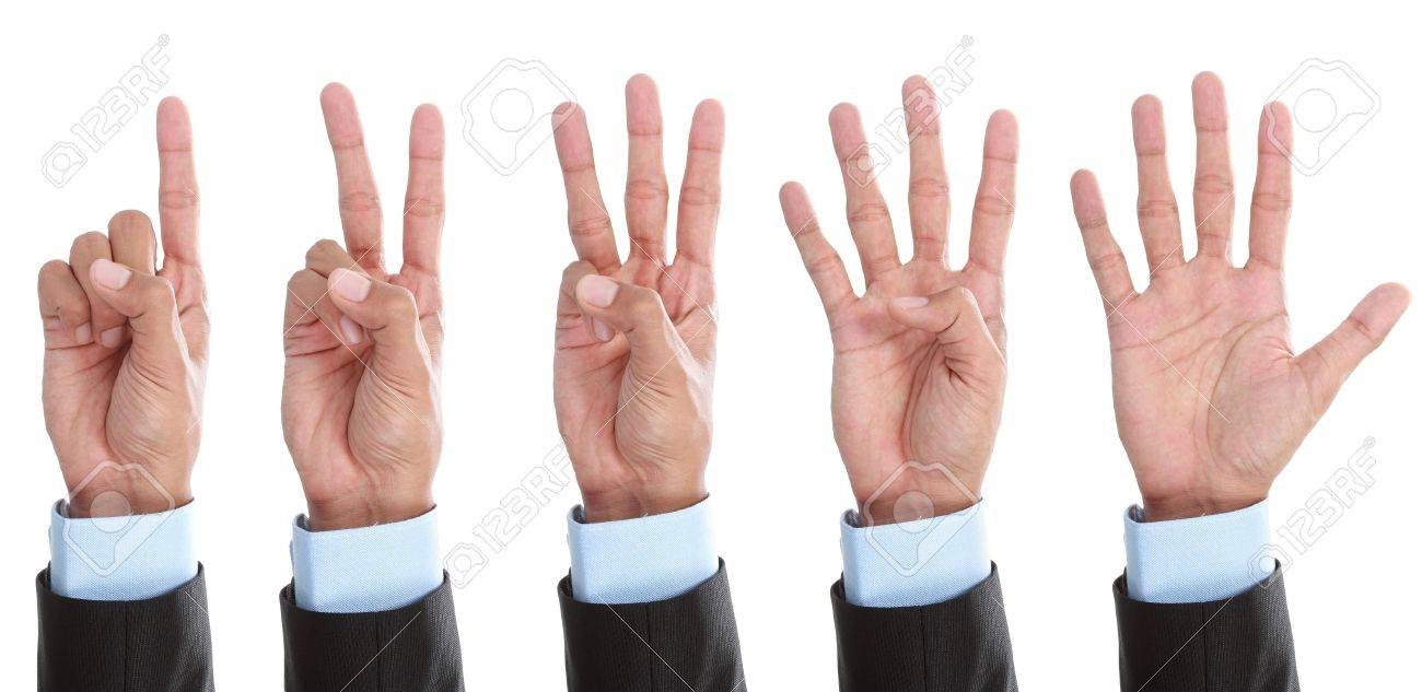 Set of counting hand sign isolated on white background Stock Photo - 14314696