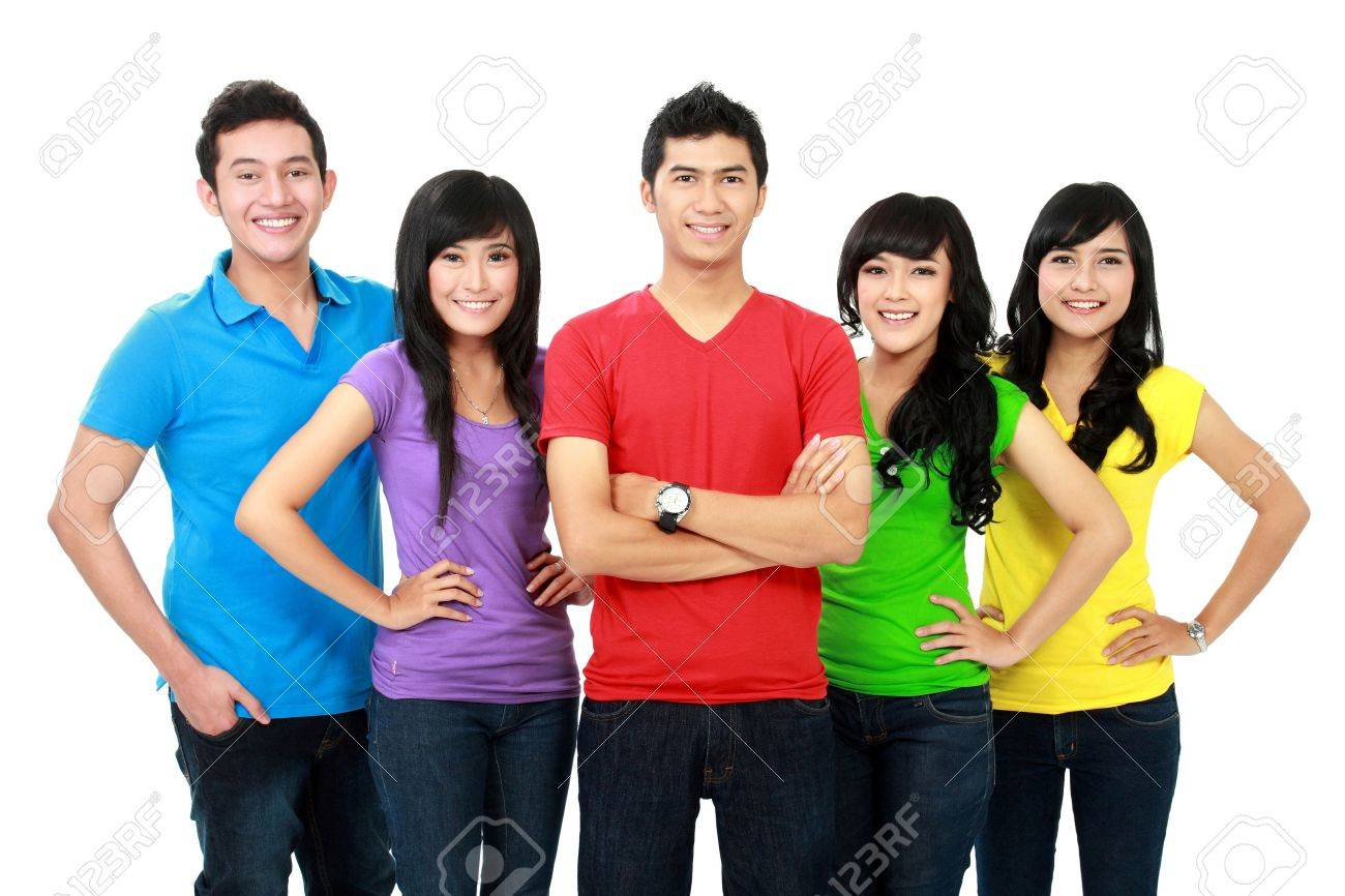 Group of smiling teenagers and folding hand Stock Photo - 16035503