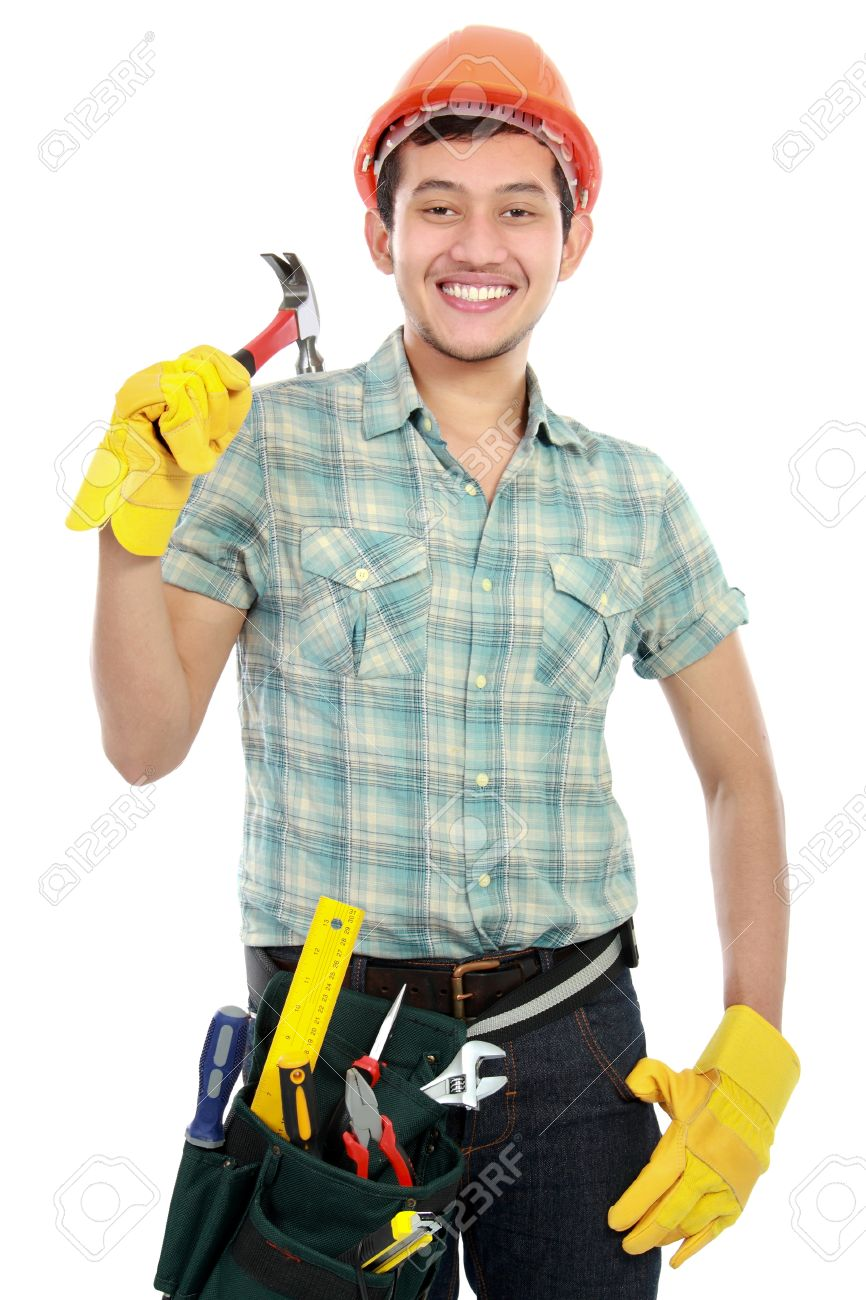 Portrait of happy builder worker isolated over white background Stock Photo - 16116736