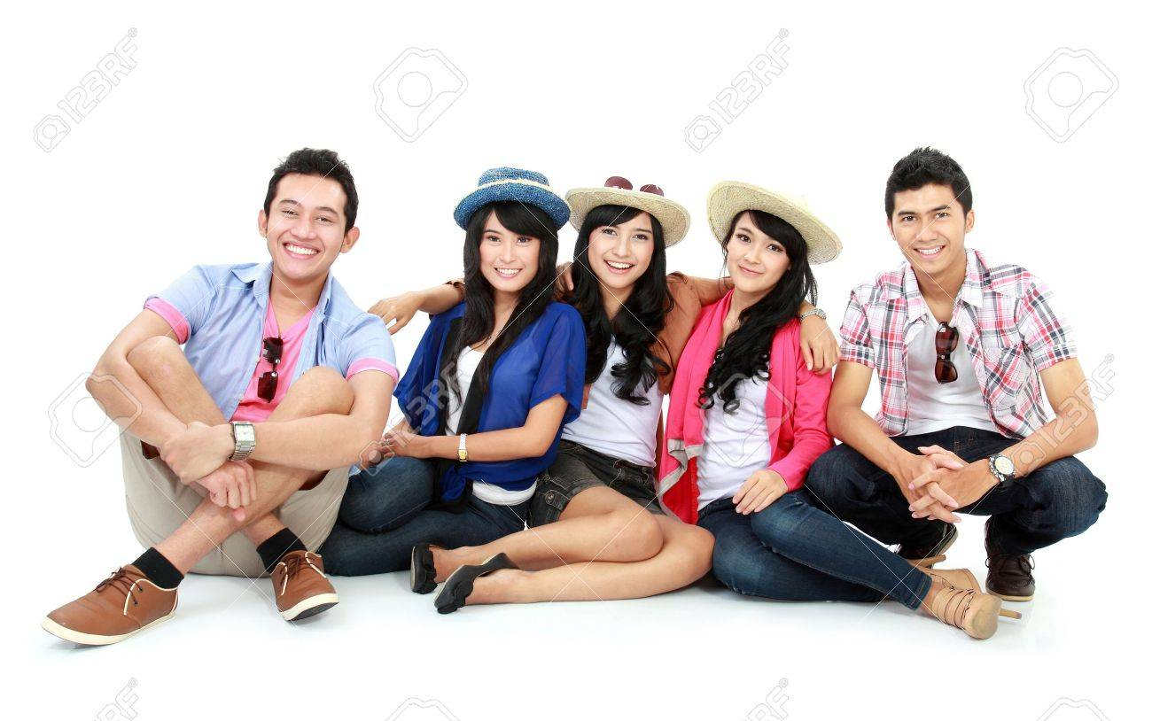 Group of Teenager Friends sitting together and look at camera Stock Photo - 16827319