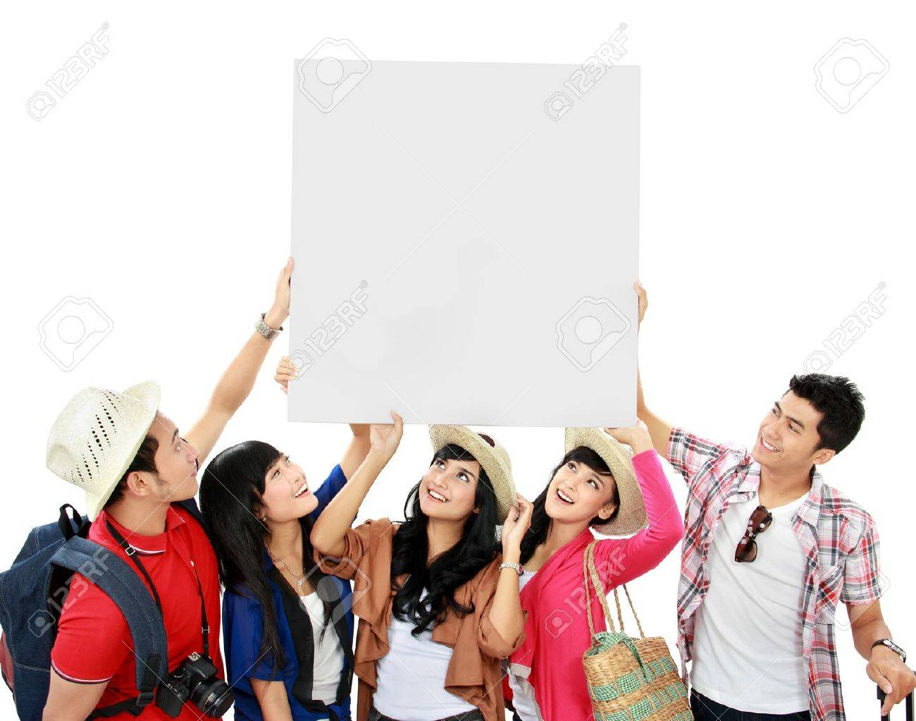 group of young tourist hold a white banner and look up Stock Photo - 16827323