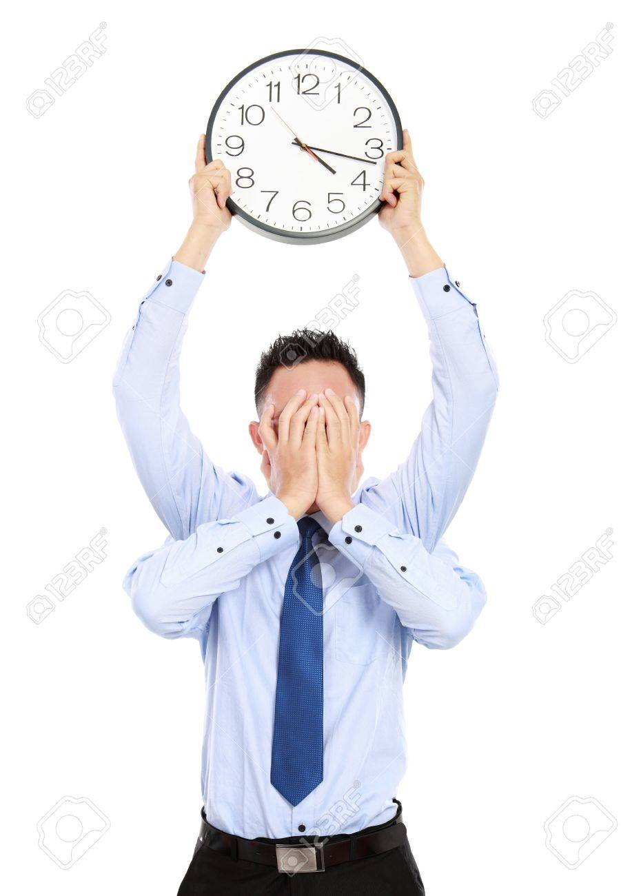 deadline concept of businessman with many hands holding clock and covering face isolated on white background - 16800562