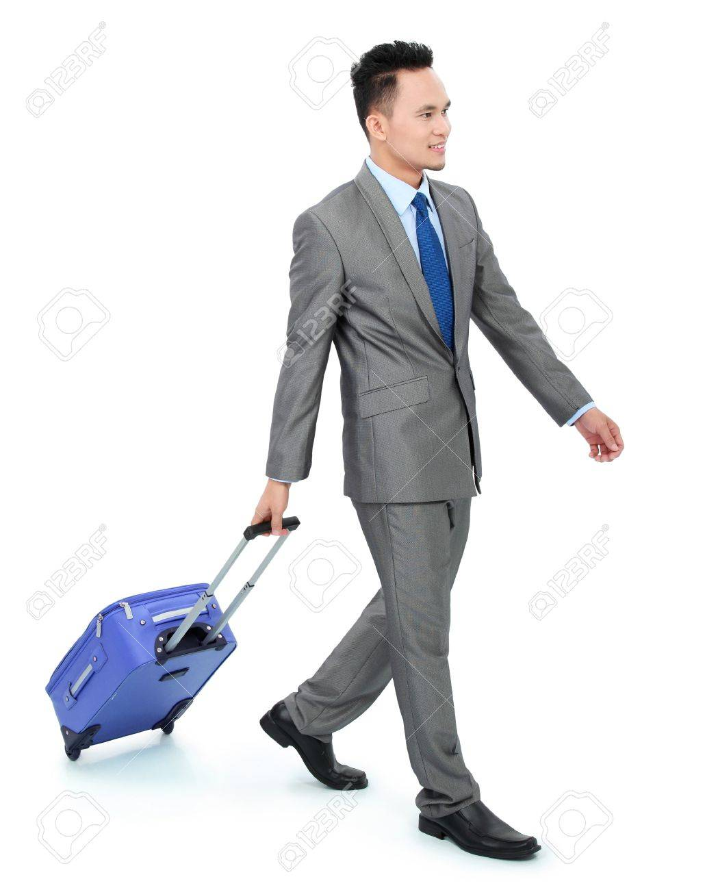 Man Going On A Business Trip With Bag - Isolated Over White ...
