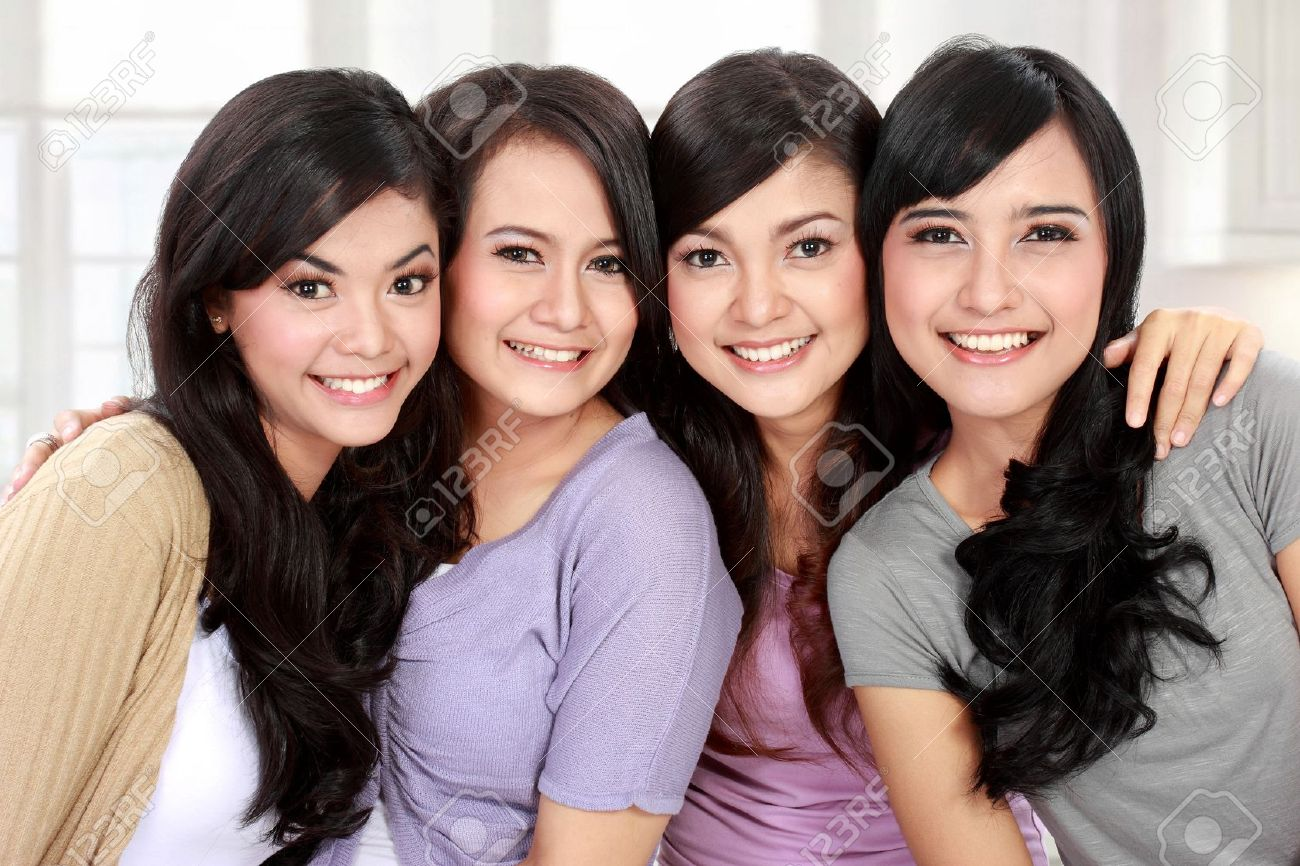 group of beautiful asian women smiling stock photo, picture and