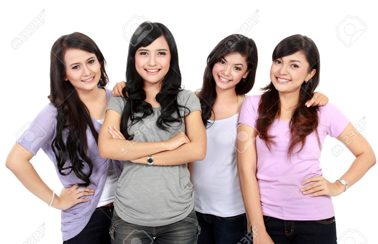 Portrait Group of happy teenagers having fun Stock Photo - 18121748