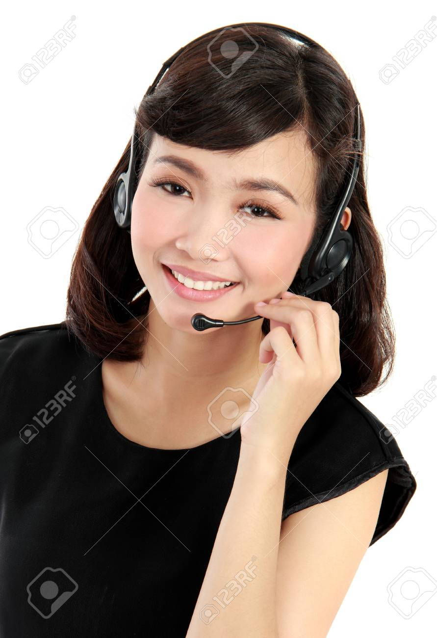 Young beautiful customer service operator with headset on white background. Stock Photo - 19067220