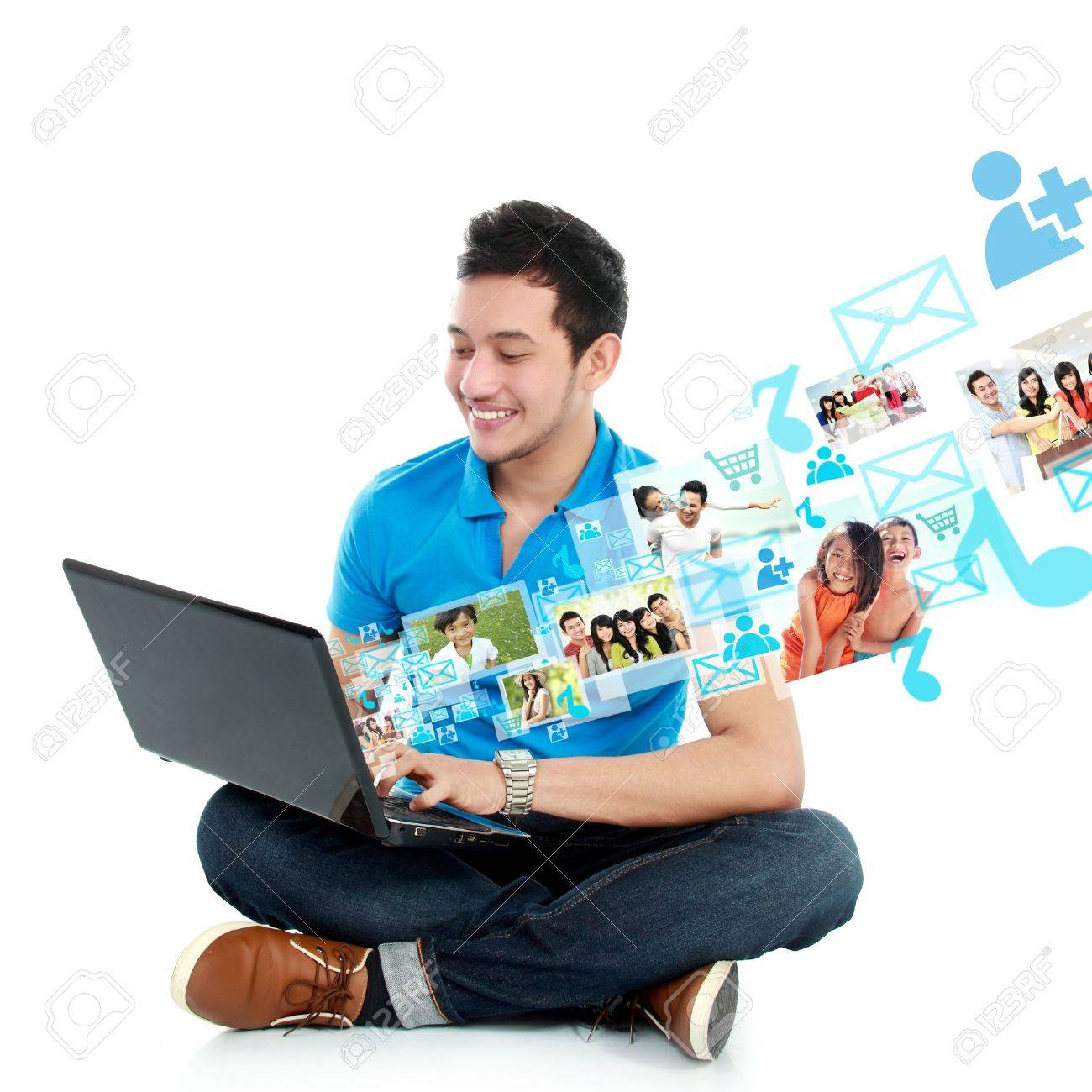 portrait of young asian man study using laptop isolated over white background Stock Photo - 20599539