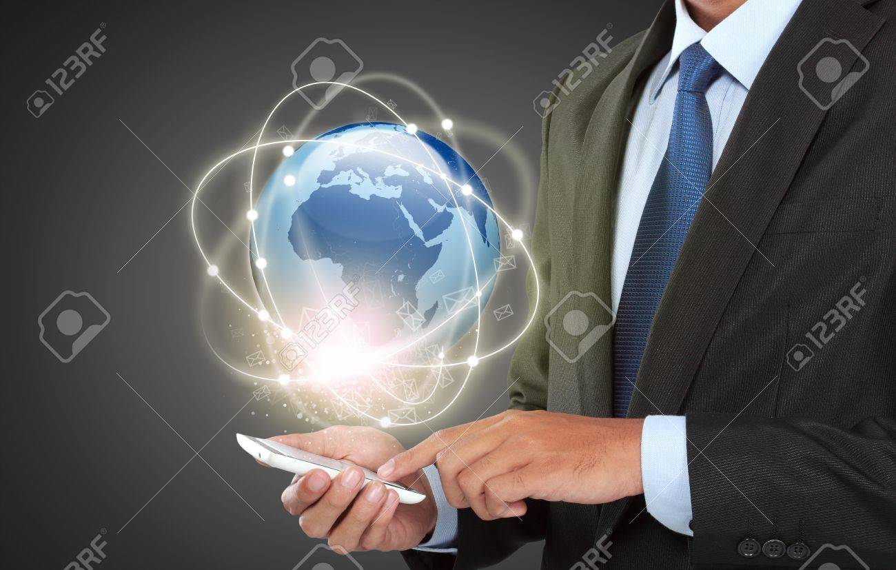 businessman navigating in virtual reality interface with mobile phone Stock Photo - 21910953