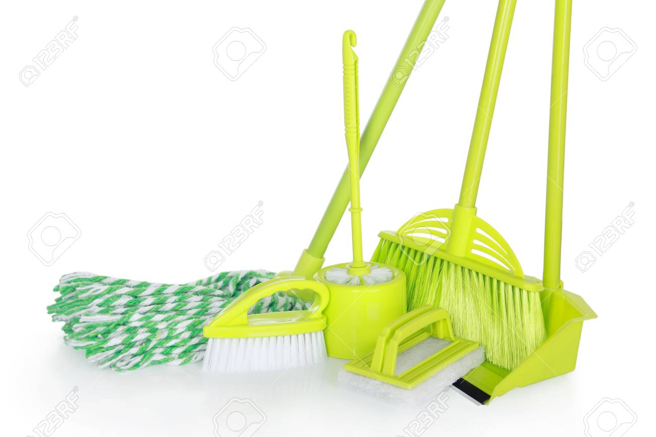 cleaning equipment isolated on white background Stock Photo - 24980250