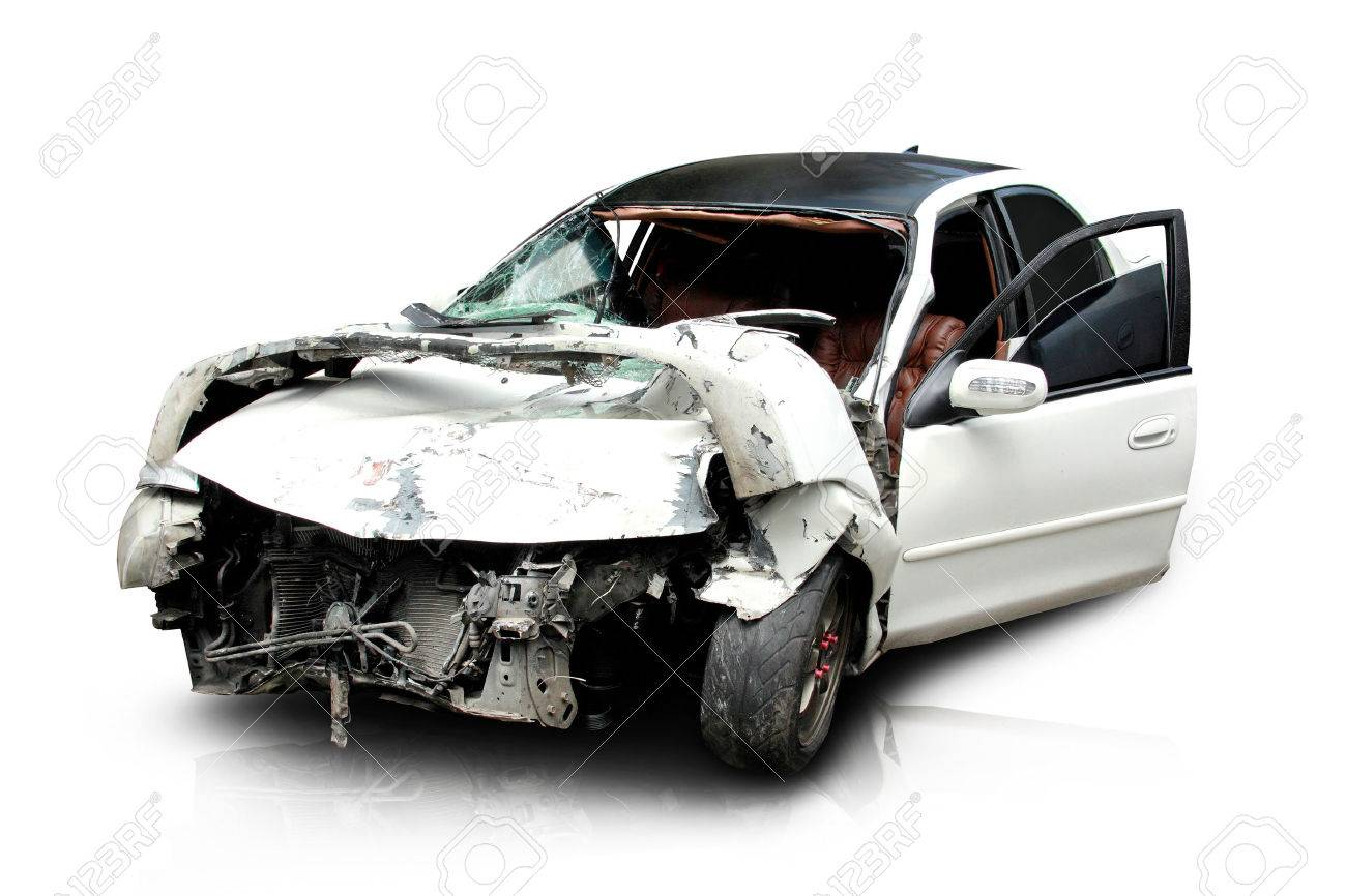 white car in an accident isolated on a white background Stock Photo - 26766117