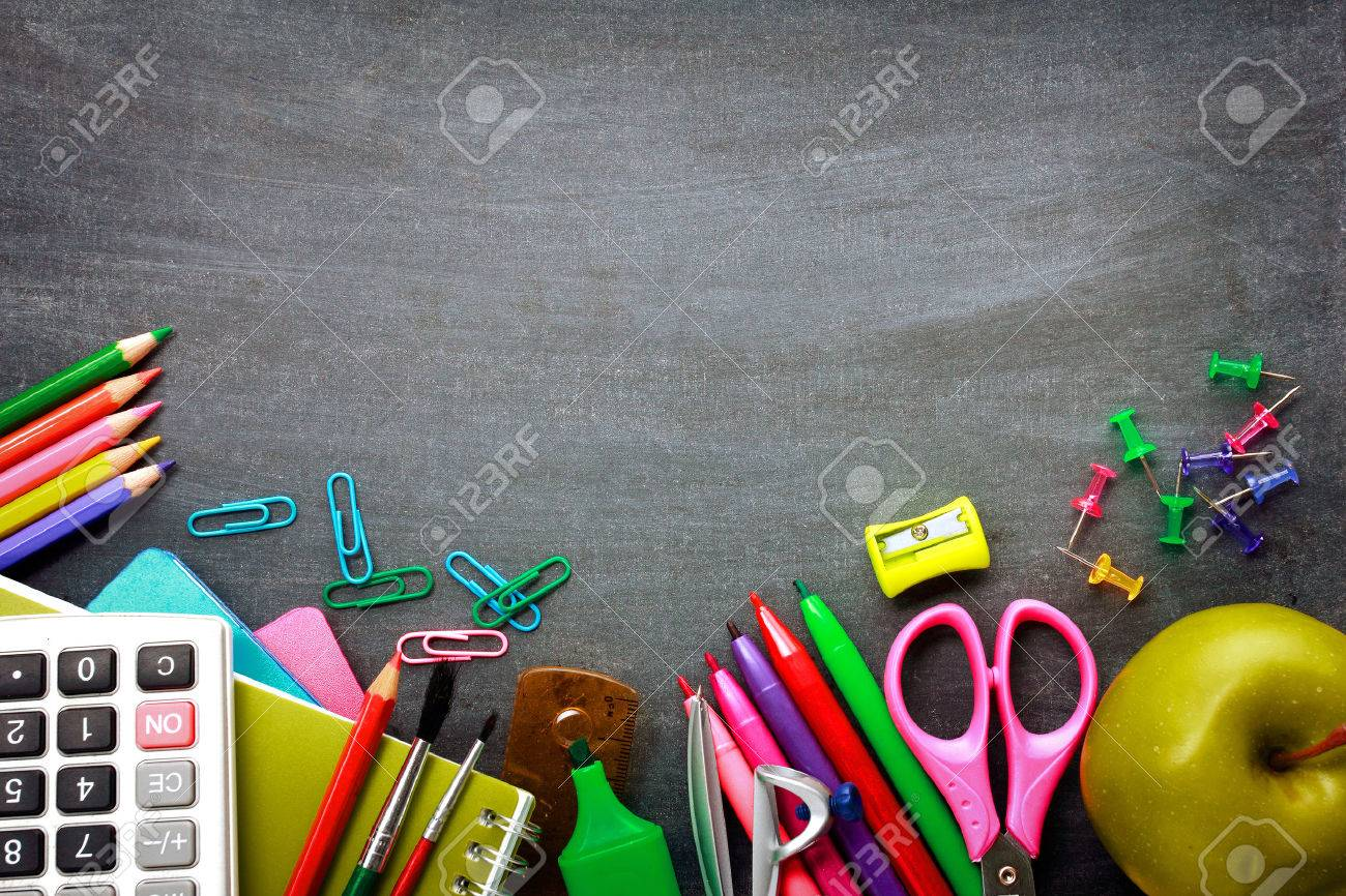 School supplies on blackboard background ready for your design Stock Photo - 29659265