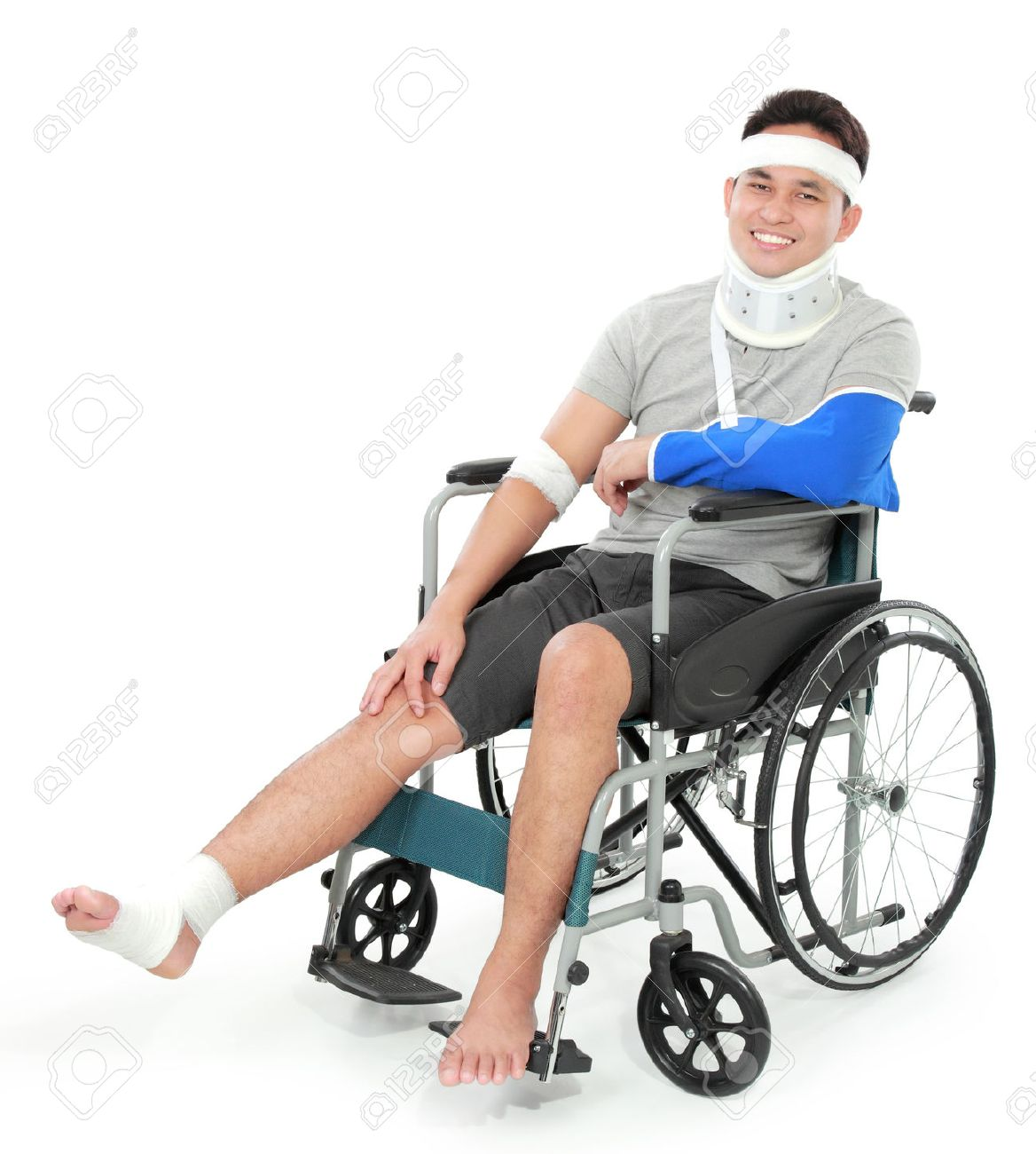 portrait of injured young man in wheelchair stock photo picture and