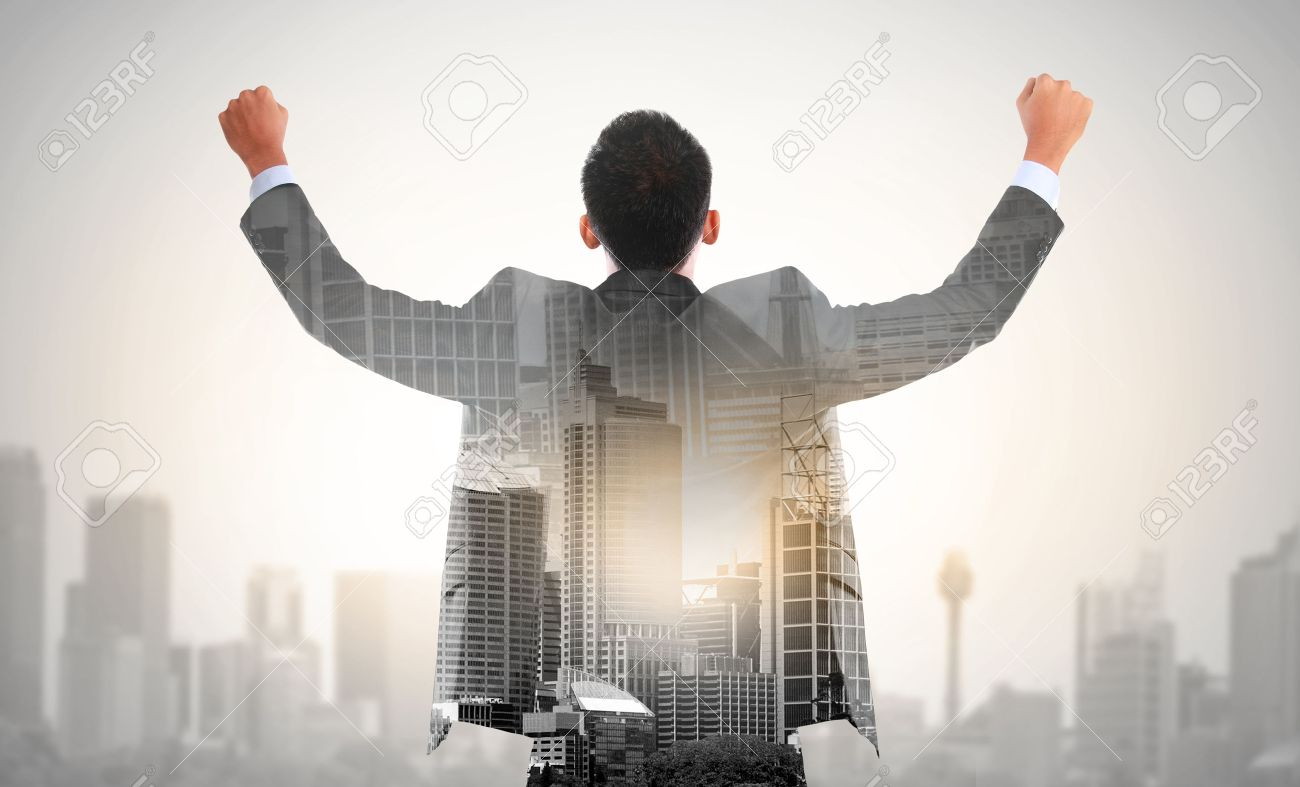 Success Business Man Raise His Hand Double Exposure Concept Of Stock Photo Picture And Royalty Free Image Image 37804164