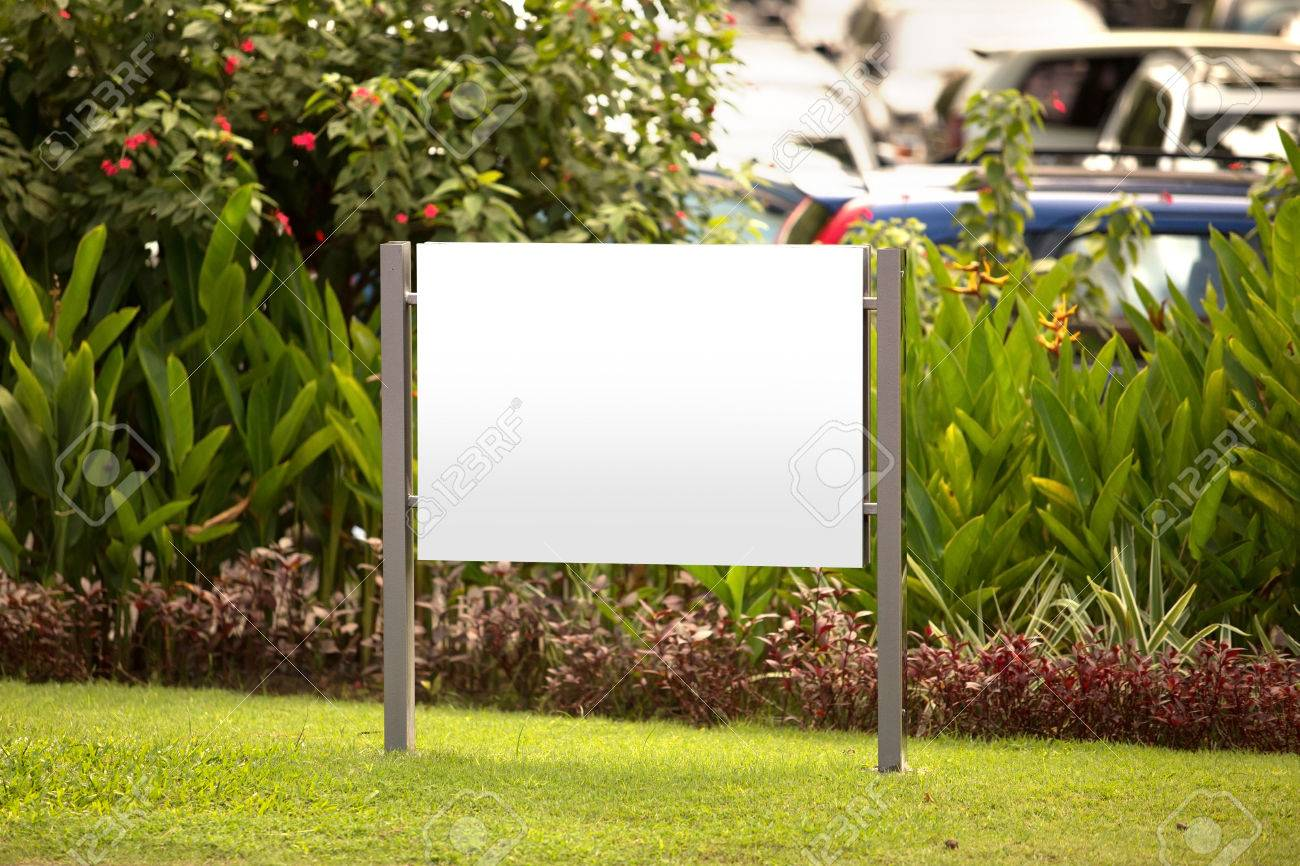A Portrait Of A Blank Billboard For Advertisement In The Garden Stock Photo    41084382