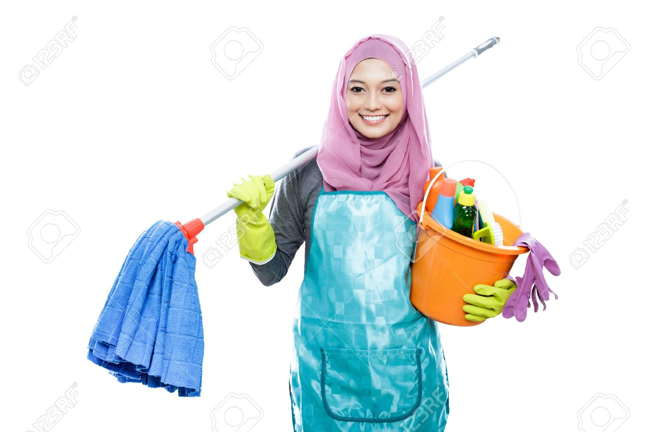 White gloves apron cleaning services - Woman Apron Gloves Portrait Of Cheerful Housewife Wearing Hijab Holding Mop And Carrying A Bucket