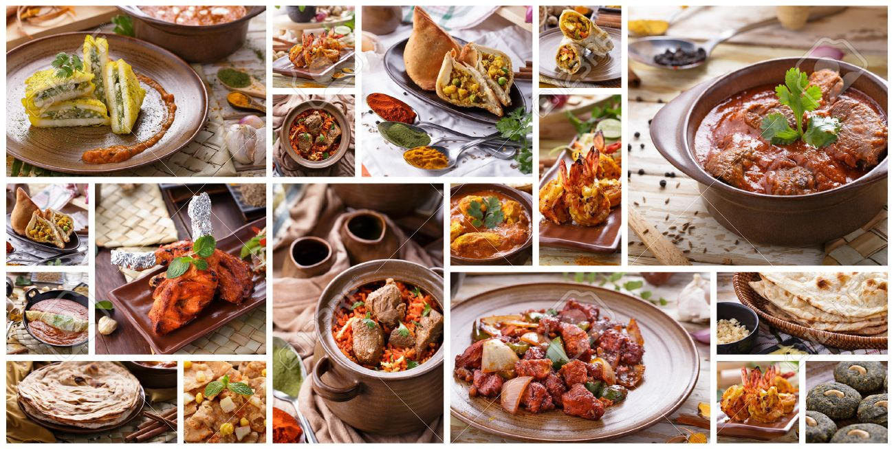 A portrait of various indian food buffet, collage Stock Photo - 48633543