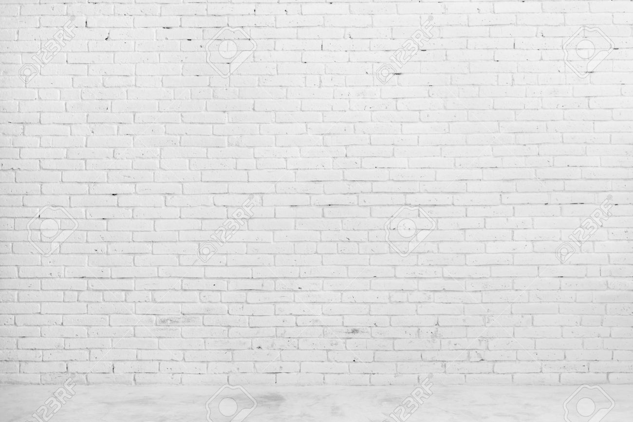 Plain wood table with hipster brick wall background stock photo - Portrait Of White Brick Wall For Background Or Texture