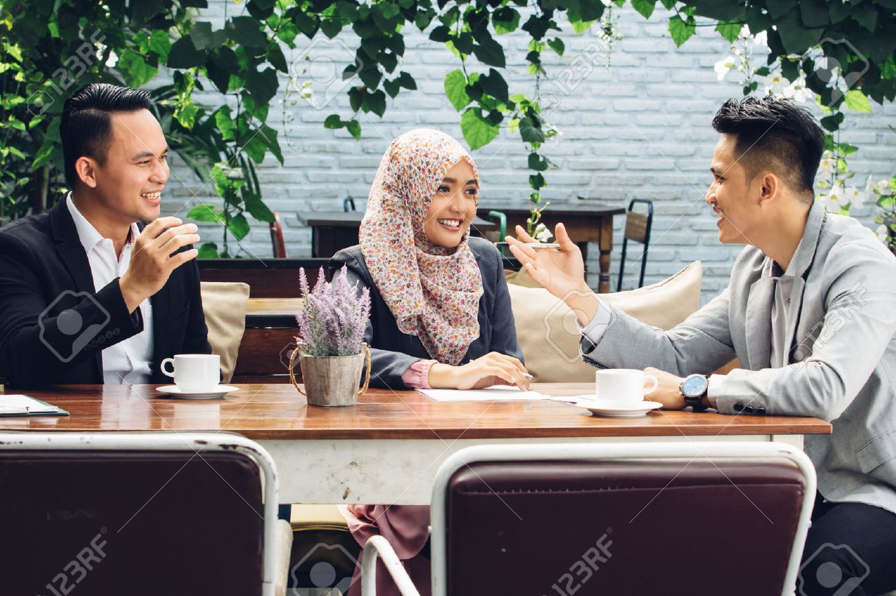 portrait of creative business people teamwork meeting at cafe Stock Photo - 54703699