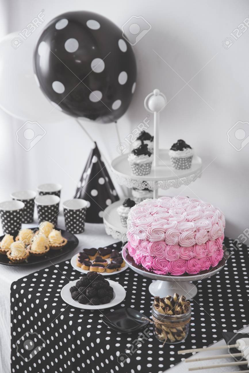Portrait Of Black And White Birthday Party Decoration With Full
