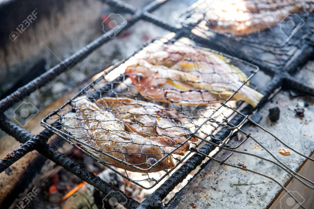 Close Up Of Grilling Fish On Campfire With Charcoal Stock Photo