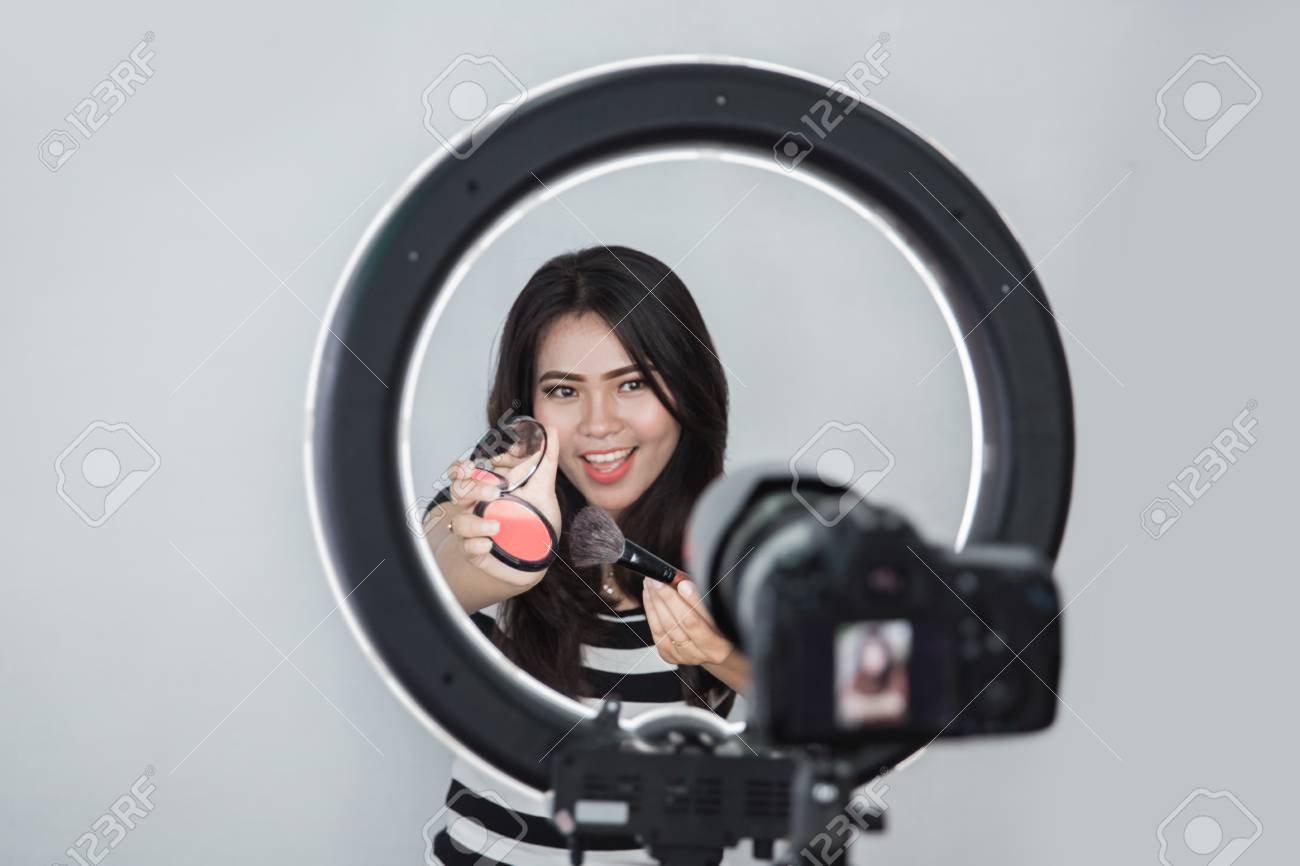Beauty Blogger Makeup Tutorial Video Blog Concept Portrait