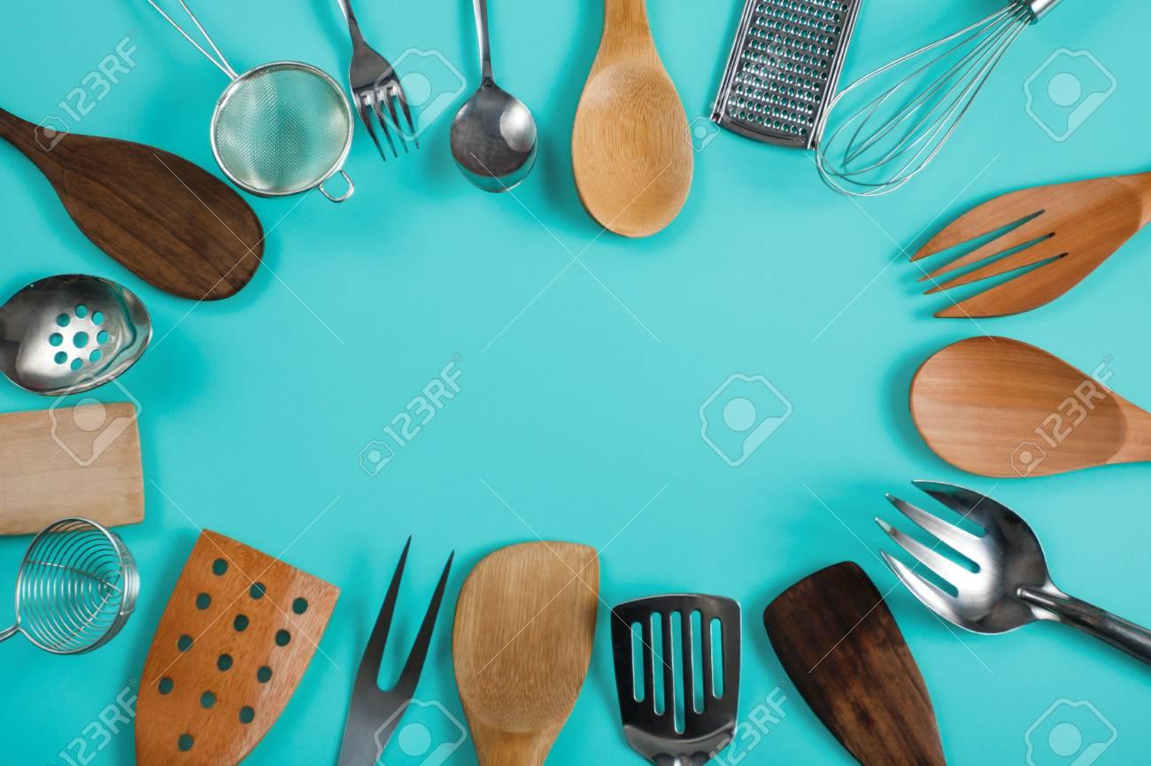 Group Of Kitchen Utensils On Blue Pastel Background