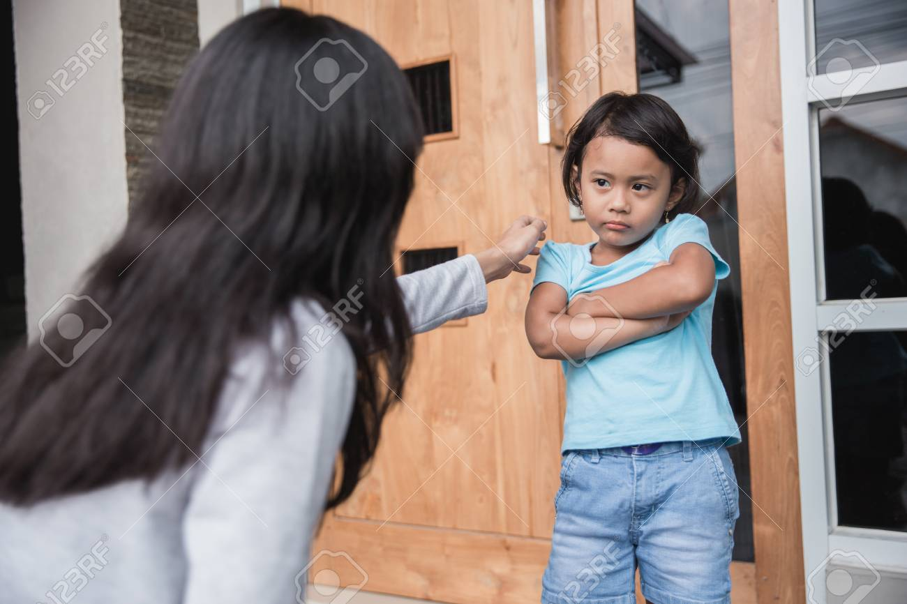 portrait of young mother persuaded her daughter. child behaviour problem - 104827284