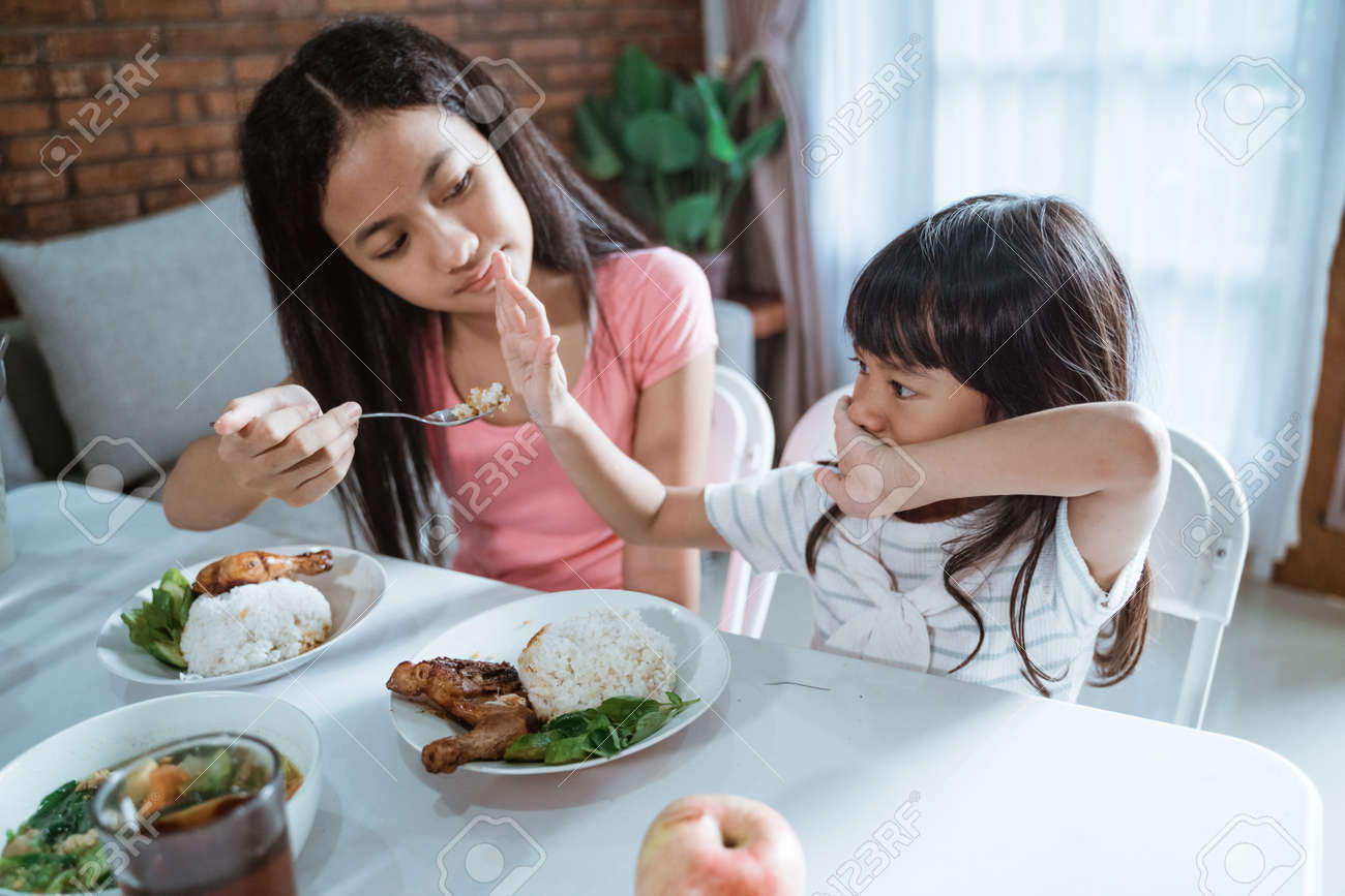 little girl refuses to eat and her older sister is annoyed - 153667989