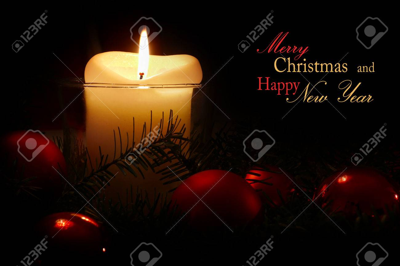 Christmas And New Year Greeting Card With White Candle And Red