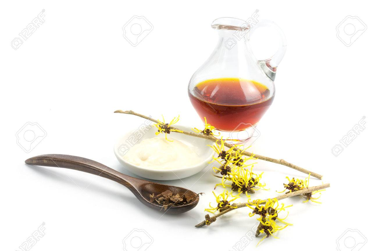 flowering witch hazel (Hamamelis), dried leaves, cream and essence for homemade skin care cosmetics and bath additive, isolated with shadow on a white background - 52045840
